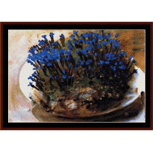 Blue Gentians - Sargent cross stitch pattern by Cross Stitch Collectibles | Crafting | Cross-Stitch | Wall Hangings