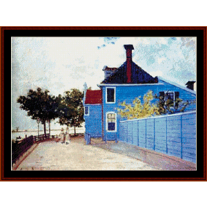 blue house in zaandam monet cross stitch pattern by cross stitch collectibles