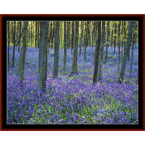 bluebells in forest - nature cross stitch pattern by cross stitch collectibles