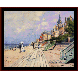 boardwalk at trouville - monet cross stitch pattern by cross stitch collectibles