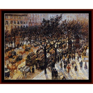 boulevard des italiens - pissarro cross stitch pattern by cross stitch collectibles