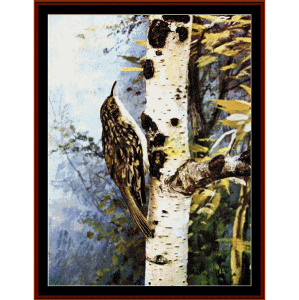 brown creeper - wildlife cross stitch pattern by cross stitch collectibles