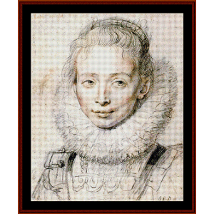 chambermaid - rubens cross stitch pattern by cross stitch collectibles