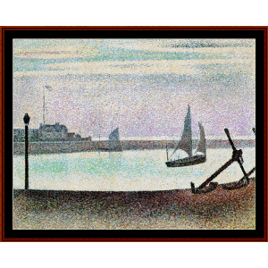 channel at gravelines - seurat cross stitch pattern by cross stitch collectibles