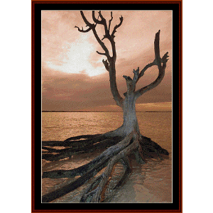 dead tree on harbour island - nature cross stitch pattern by cross stitch collectibles