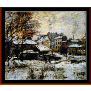 evening snow effect - monet cross stitch pattern by cross stitch collectibles