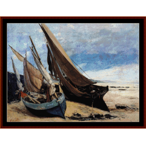 fishing boats on deauvil beach - courbet cross stitch pattern by cross stitch collectibles