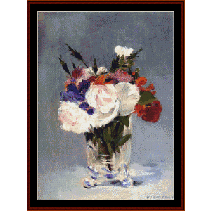 flowers in crystal vase - manet cross stitch pattern by cross stitch collectibles