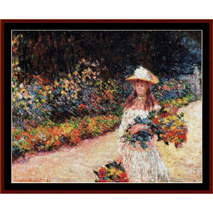 young girl in garden - monet cross stitch pattern by cross stitch collectibles