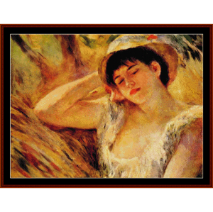 young girl sleeping - renoir cross stitch pattern by cross stitch collectibles