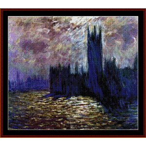 houses of paliament ii - monet cross stitch pattern by cross stitch collectibles