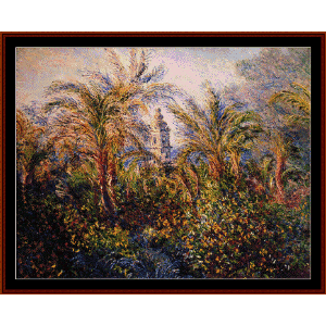 garden in bordighera - monet cross stitch pattern by cross stitch collectibles