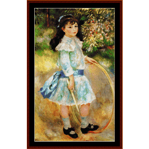 girl with a hoop - renoir cross stitch pattern by cross stitch collectibles
