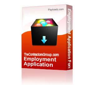 Employment Application Form | Other Files | Documents and Forms