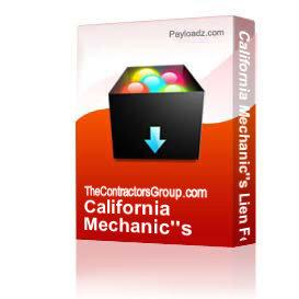 California Mechanic's Lien Form | Other Files | Documents and Forms