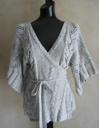 #69 cables and lace kimono wrap cardigan pdf pattern from sweaterbabe.