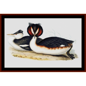 great crested grebe - wildlife cross stitch pattern by cross stitch collectibles
