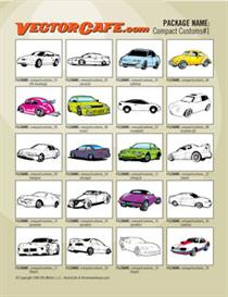 compact custom car vector clip art #1