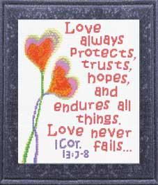 Love Never Fails - I Corinthians 13:7-8 | Crafting | Cross-Stitch | Religious