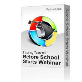 before school starts webinar