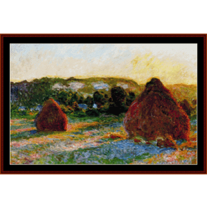 haystacks end of summer - monet cross stitch pattern by cross stitch collectibles