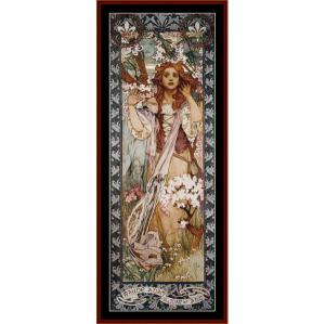 joan of arc - mucha cross stitch pattern by cross stitch collectibles