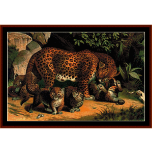 leopards - wildlife cross stitch pattern by cross stitch collectibles