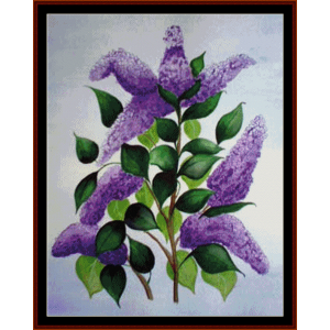 lilacs - floral cross stitch pattern by cross stitch collectibles