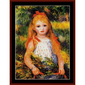 little girl gleaning - renoir cross stitch pattern by cross stitch collectibles