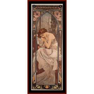 nights rest - mucha cross stitch pattern by cross stitch collectibles