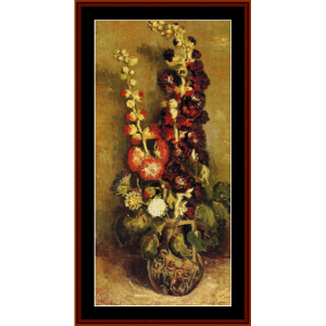 vase wth hollyhocks - van gogh cross stitch pattern by cross stitch collectibles