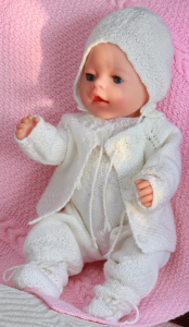 dollknittingpattern 0032d isabell and isak - blanket-jacket-romper-bonnet-cap and socks-(english)