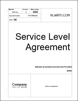 Service Level Agreement Template Software Software Templates