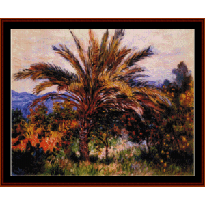 palm tree at bordighera - monet cross stitch pattern by cross stitch collectibles