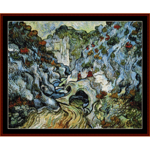 path through a ravine - van gogh cross stitch pattern by cross stitch collectibles