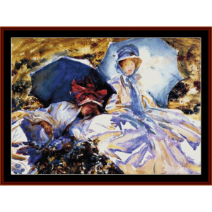the parasols - sargent cross stitch pattern by cross stitch collectibles