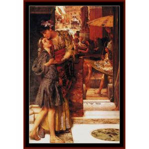 the parting kiss - alma tadema cross stitch pattern by cross stitch collectibles