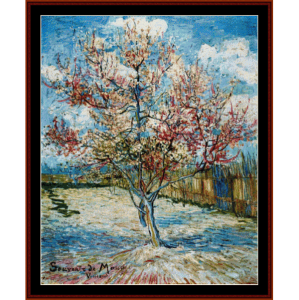 peach tree in blossom - van gogh cross stitch pattern by cross stitch collectibles