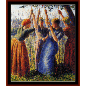 peasant women planting peas - pissarrocross stitch pattern by cross stitch collectibles