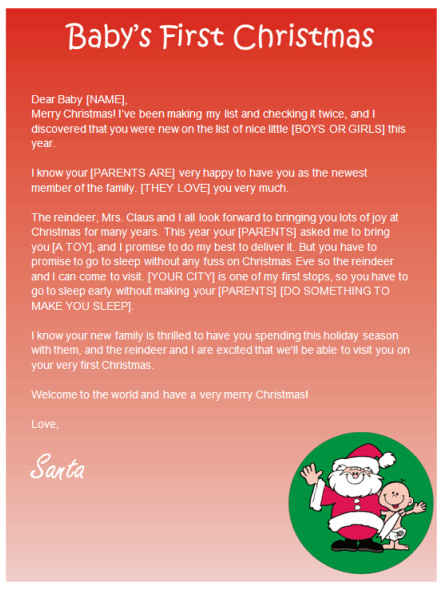 Free Printable Baby S First Christmas Letter From Santa