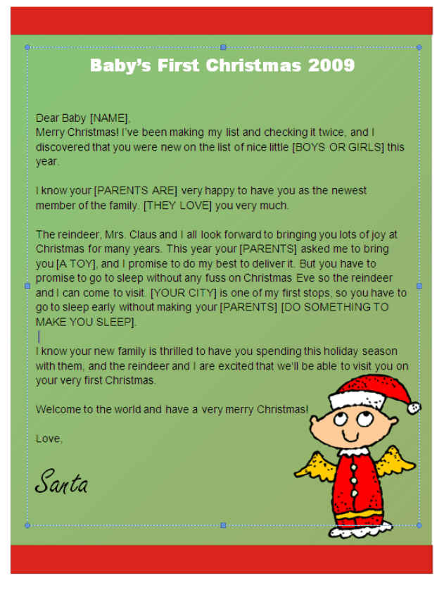Babys first christmas letter from santa angel design other files babys first christmas letter from santa angel design other files patterns and templates spiritdancerdesigns Choice Image