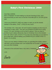 babys first christmas letter from santa (angel design)