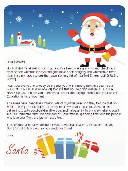 christmas letter from santa for kindergarten gifts design other files documents and forms - Christmas Letter From Santa
