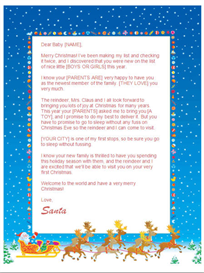 babys first christmas letter from santa (sleigh design)