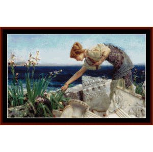 among the ruins - alma tadema cross stitch pattern by cross stitch collectibles