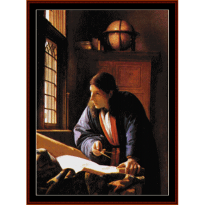 the astronomer - vermeer cross stitch pattern by cross stitch collectibles