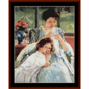 young mother sewing - cassatt cross stitch pattern by cross stitch collectibles