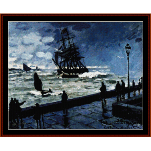 jetty at le havre - monet cross stitch pattern by cross stitch collectibles