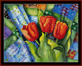 Quilts and Tulips cross stitch pattern by Cross Stitch Collectibles   Crafting   Cross-Stitch   Wall Hangings