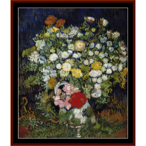 bouquet of flowers - van gogh cross stitch pattern by cross stitch collectibles